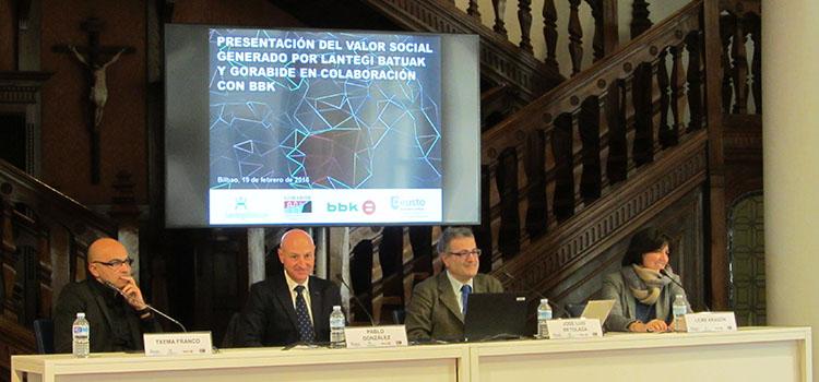 Presentación del valor social generado por Gorabide, Lantegi Batuak y BBK
